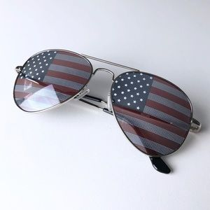 American Flag Silver Aviator Sunglasses